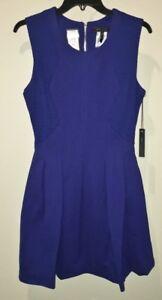 ce436f890d3ca5 BCBG MaxAzria Cobalt Blue S/L Fit & Flare Short Dress NEW Womens Sz ...