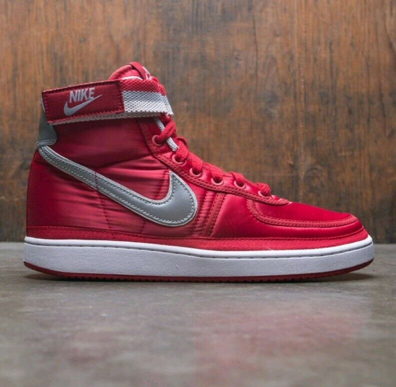 9 MEN'S Nike Vandal High Supreme QS University Red Metallic Silver AH8652 600