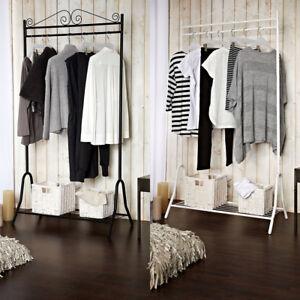 Garderobe-Kleiderstaender-Garderobenstaender-Kleiderstange-Metall-Schwarz-Weiss