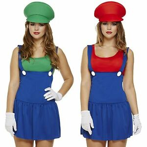 Image is loading Ladies-Super-Mario-Luigi-Costume-Adult-Plumber-Bro-  sc 1 st  eBay & Ladies Super Mario Luigi Costume Adult Plumber Bro Fancy Dress Women ...