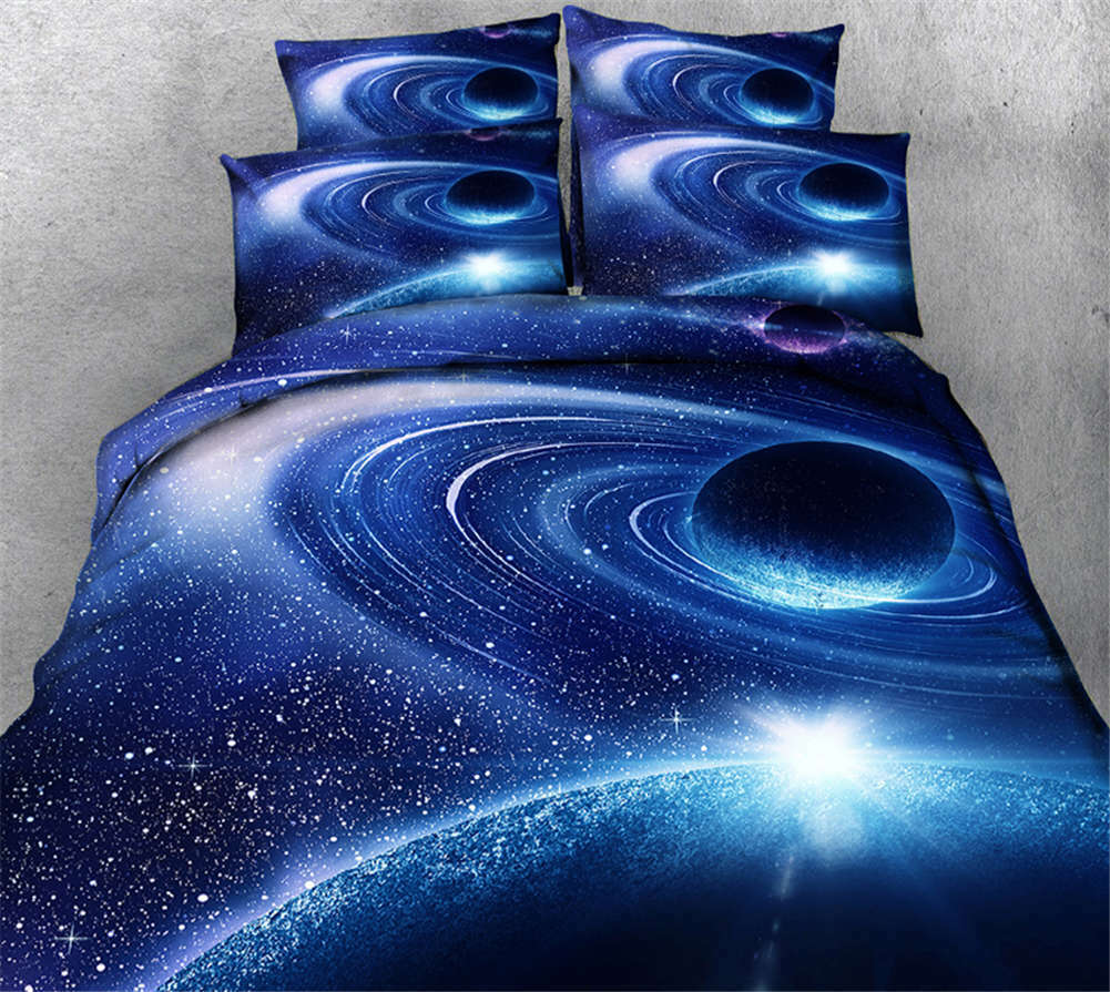 Blau Cosmic Vortex 3D Printing Duvet Quilt Doona Covers Pillow Case Bedding Sets