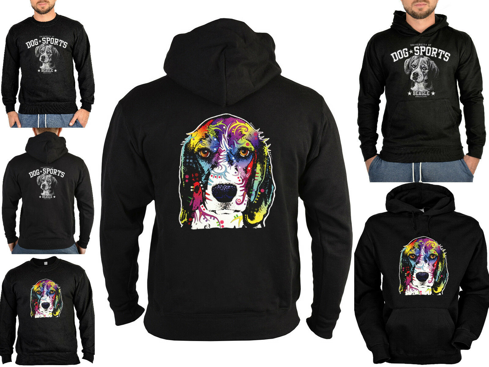 Beagle Sweater - Kapuzensweater - Zip Hoodie Hunderassen Hunde Motiv Neon