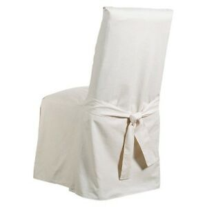 blue dining room chair covers | Cotton Duck Long Dining Room Chair Slipcover Blue Stone ...