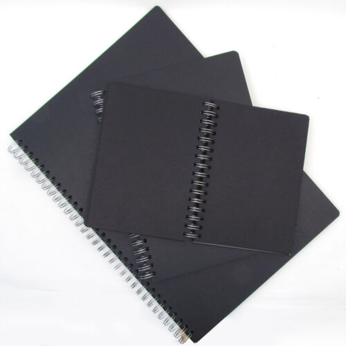 A4 or A3 Artists 130gsm Black Paper Spiral Bound Sketch Books A5 50 Sheets.