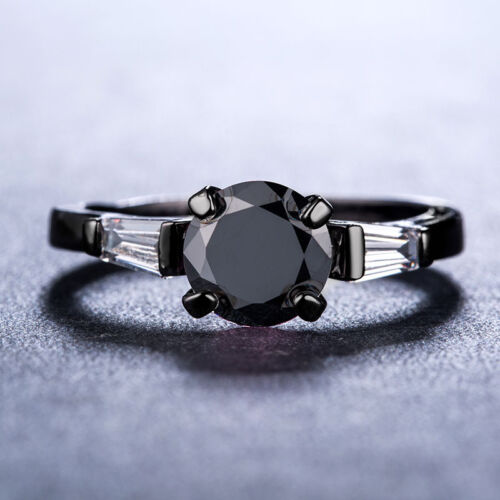 Magnifique Femmes 14kt Black Gold Filled Round Cut Black Sapphire Ring Taille 6-10