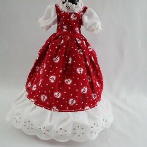 Vintage Handmade For Barbie Clothes Long Dress Valentine Print Red White Hearts Ebay