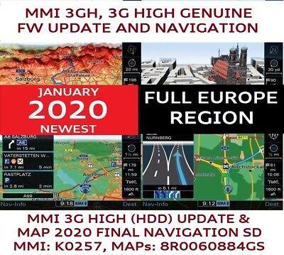 Audi MMI 3G HIGH 2019 NEWEST Sat Nav KARTEN Update Europe Audi Q5,Q7,A8