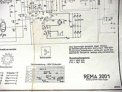 """100% Wahr Ddr- Radio """"rema 2001"""" Stromlaufplan-kopie ( Am/fm-super , Um 1960 ) Exzellente QualitäT"""