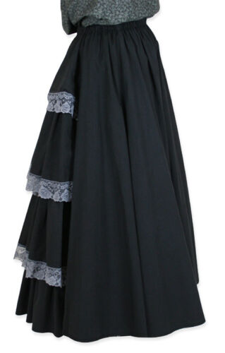 Victorian Costumes: Dresses, Saloon Girls, Southern Belle, Witch  BLACK Victorian Poplin Bustle Skirt with Lace Trim Steampunk  $79.95 AT vintagedancer.com