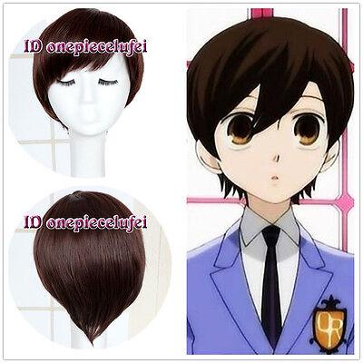 Ouran High School Host Club Haruhi Fujioka Short Brown Anime Cosplay Hair Wig