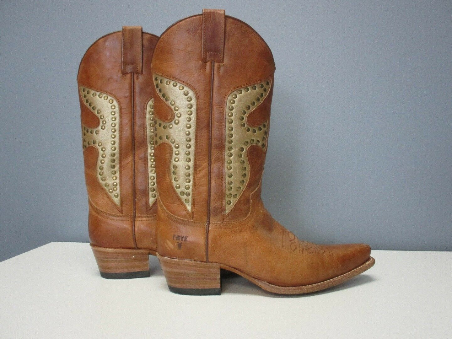FRYE Light Brown Leather Studded Mid Calf Casual Cowboy Boots Sz 8 M Bin 4399