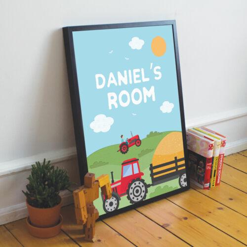 Nursery Decor Boys Bedroom Pictures PERSONALISED Boys Room Tractor Wall Art