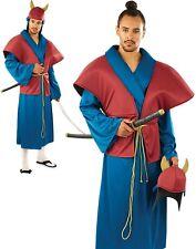 ADULT JAPANESE SAMURAI WARRIOR KUNG FU NINJA DRAGON MASTER COSTUME BLACK RED