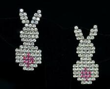 Vintage Bauer Rabbit White Rhinestone with Pink Tails Pierced Earrings