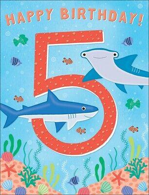 7.5 x 5.25 Inches Happy 5th Birthday Card for A Boy
