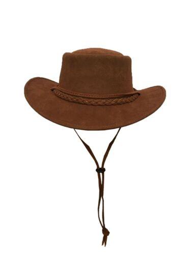 Stile Western Australiano Pelle Cappello Da Cowboy Bush Mento Cinturino Nuove TAN