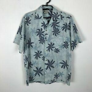 Go Barefoot Hawaii Hemd Herren Größe S blau kurzarm Blumenmuster Knopfleiste