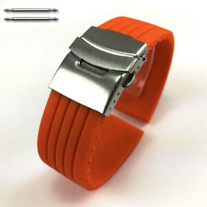 Orange Rubber Silicone Replacement Watch Band Strap Double Locking Steel Buckle