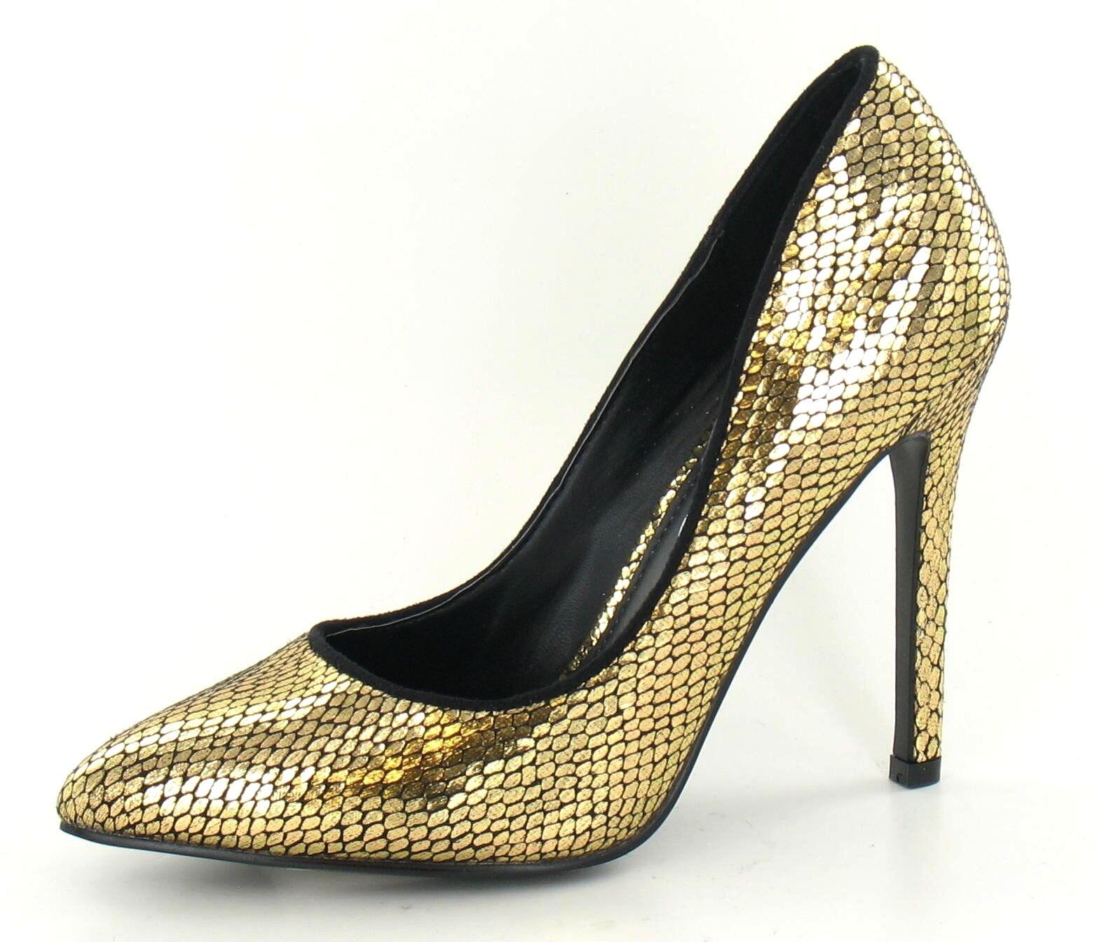"Moda jest prosta i niedroga SALE Gold 4.5"" Stiletto Heel Metallic Party Court Shoes Spot On LIMITED STOCK"