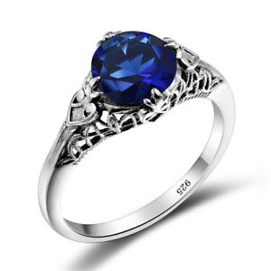 6b27deedc New 925 Sterling Silver Rings for Women Royal Blue Crystal Ring ...