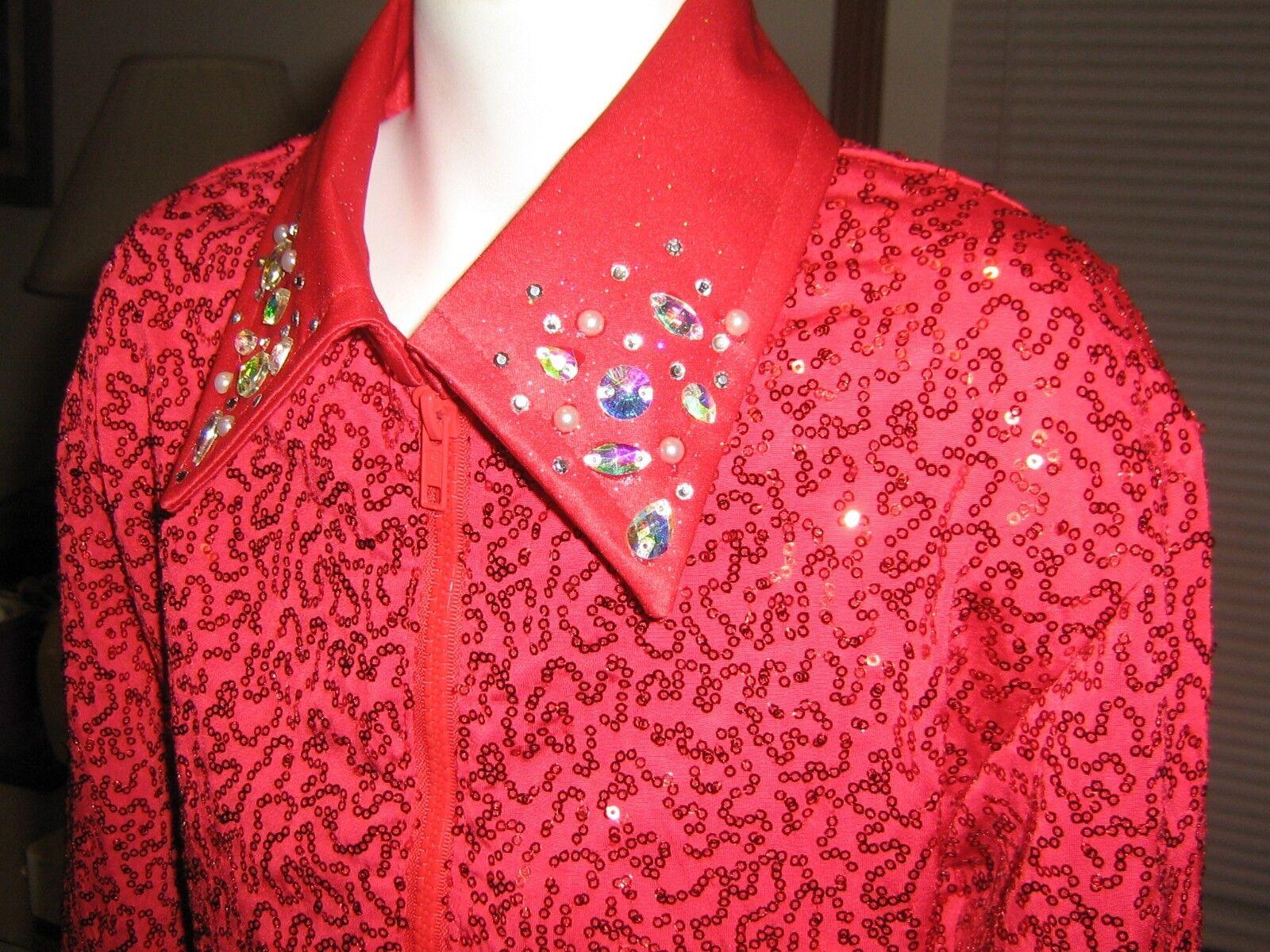 Girl L RED sparkle shine western rail show shirt pleasure horsemanship leadline