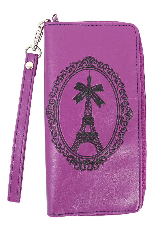 Lavishy Paris France Eiffel Tower Embossed Zip Around Wristlet Large Wallet