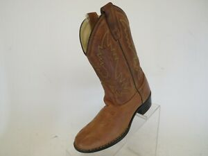 Old-West-Brown-Leather-Cowboy-Western-Boots-Youth-Size-2