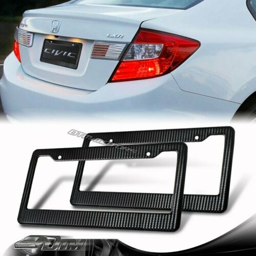 2pcs Carbon Fiber Look Painted JDM Style ABS License Plate Frame Front /& Rear E
