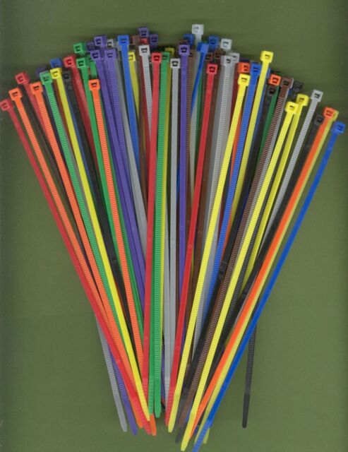 """100 4/"""" Inch Long 18# Pound Nylon Cable Ties 10 COLORS Zip Tie Ty Wrap MADE USA"""