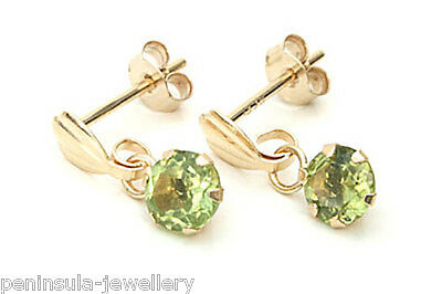 9ct Gold Peridot drop dangly Earrings Gift Boxed Made in UK