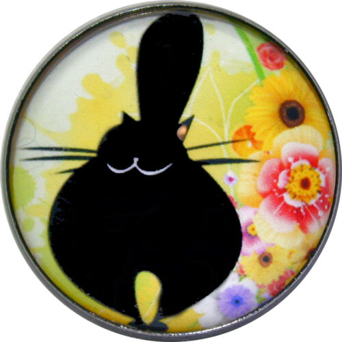 Crystal Dome Button Lg Sz 1 /& 3//8 inch PC07 Black Cat Chubby /& Happy