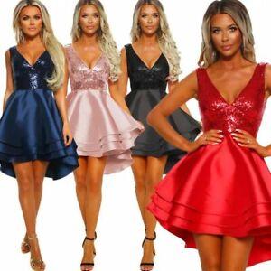 Women/'s Sleeveless V Neck Mini Dress Ladies Evening Cocktail Party Satin Dresses