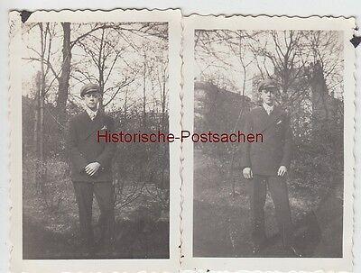 (f12884) 2x Orig. Foto Junger Mann Steht Im Freien 1936 Moderne Techniken