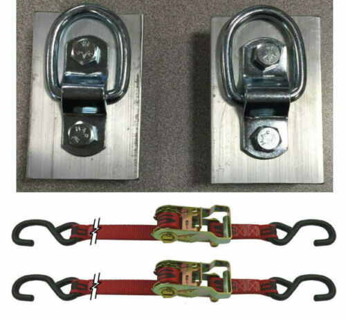 2 2 D-Rings for Slide Channels on Snowmobile Trailers with 3/' Ratchet Straps