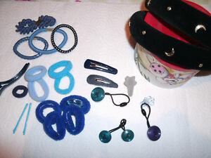 Haarschmuck Set Blau/schwarz 15 Teile Neu
