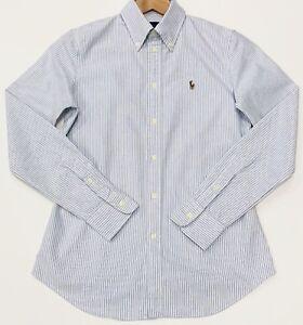 Ralph-Lauren-custom-fit-raye-Oxford-Chemise-dans-Bleu-clair-Taille-S