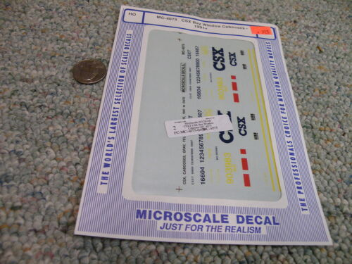 Microscale decals HO MC-4075  CSX bay window cabooses 1991 H54
