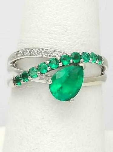 Details about  /2.45CT Pear Cut Emerald 14K White Gold Over Women/'s Cross Over Band Ring