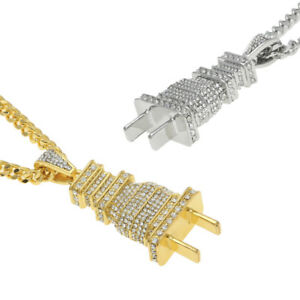 Fully-Iced-Out-Diamond-Power-Plug-Pendant-Shock-Hip-Hop-Necklace-Chain-Gift
