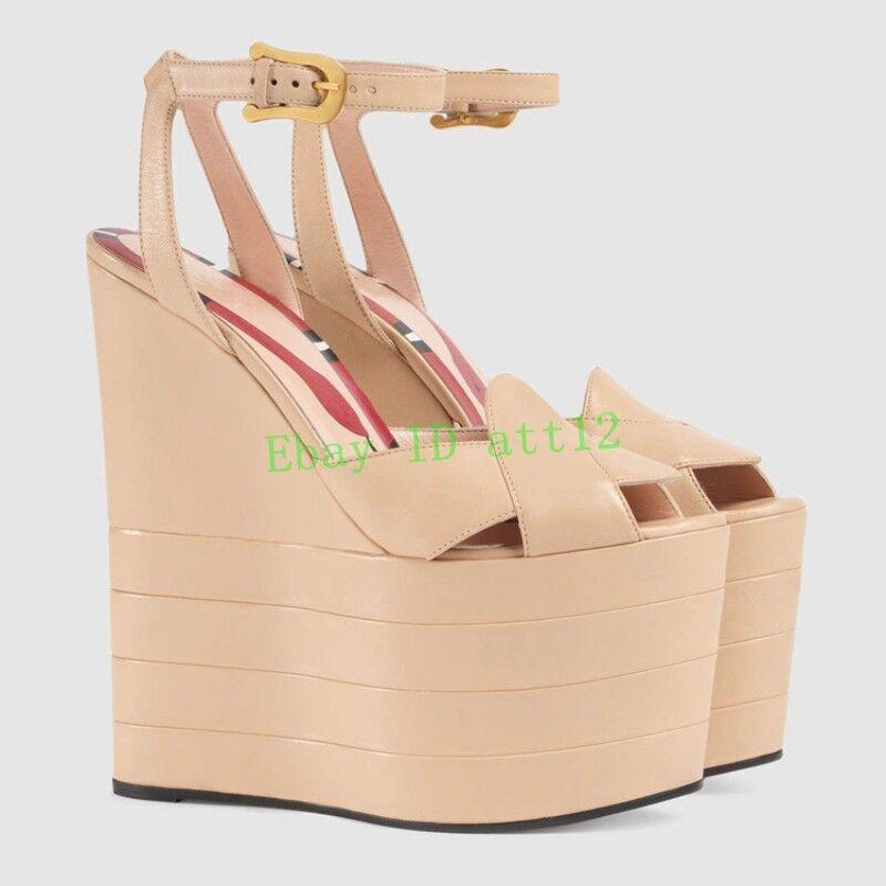 Super Plataforma De Cuña Tacón alto puntera abierta para mujer zapatos de la sandalia bombas de la hebilla Czh8