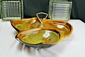 Studio Pottery Maurice of Calif USA RF 42 Earth Tones Divided Serving Dish Vinta