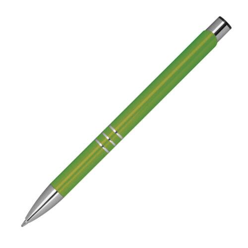 Farbe 20 Kugelschreiber aus Metall mit Gravur hellgrün
