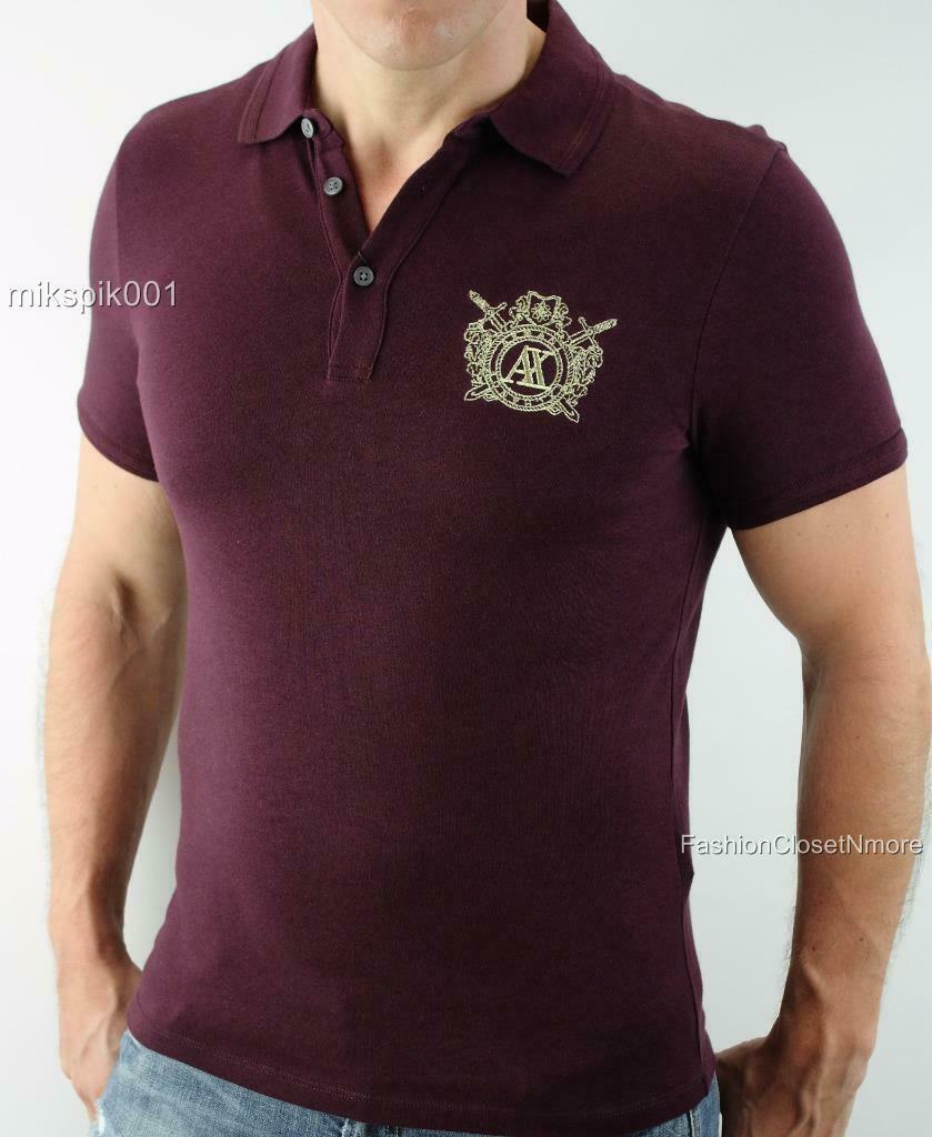 ARMANI EXCHANGE Mens Signature AX Crest Logo Polo Shirt Button Front Top NWT