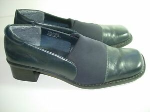 WOMENS-NAVY-BLUE-LEATHER-AEROSOLES-COMFORT-LOAFERS-CAREER-HEELS-SHOES-SIZE-6-5-M