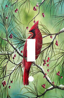 Cardinal Bird In Red Berry Tree Light Switch Plate Cover