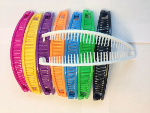 Lot of 6 Colorful Plastic Banana Hair Clip Claw Comb