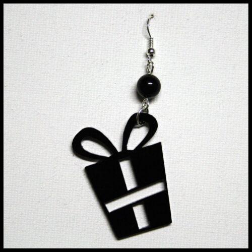 Orecchino Ciondolo Regalo Dono Natale Pacco Donna Plexiglass Pendente Nero 4 cm