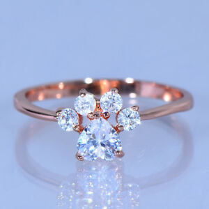 Lovely-Heart-Cut-Dog-Cat-Paw-Footprint-White-Sapphire-CZ-Ring-Rose-Gold-Jewelry