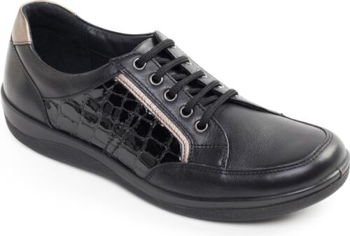 Padders ATOM Ladies Womens Patent Leather Lace Up Wide Fit Comfort Trainer Shoes