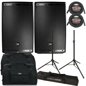 """JBL EON615 1000W 15"""" 2-Way Powered Speaker Pair + Tote Bags + Cables + Stands"""